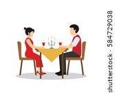 candle light dinner vector...   Shutterstock .eps vector #584729038