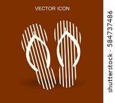 flip flops icon vector... | Shutterstock .eps vector #584737486