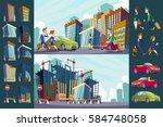 set vector cartoon illustration ... | Shutterstock .eps vector #584748058