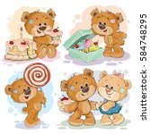 funny illustrations with teddy... | Shutterstock .eps vector #584748295