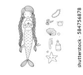 beautiful little mermaid with... | Shutterstock .eps vector #584756878