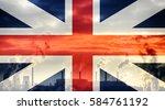 british flag against industrial ...