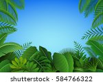 background of tropical leaves.... | Shutterstock . vector #584766322