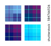 Set Of 4 Plaid Fabric Texture...
