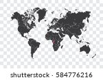 illustrated world map with the... | Shutterstock . vector #584776216