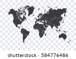illustrated world map with the... | Shutterstock . vector #584776486