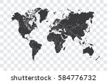 illustrated world map with the... | Shutterstock . vector #584776732