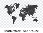 illustrated world map with the... | Shutterstock . vector #584776822