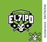 skull character baseball logo... | Shutterstock .eps vector #584782546