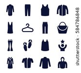 casual icons set. set of 16... | Shutterstock .eps vector #584786848