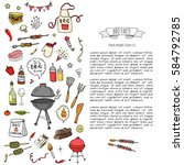 hand drawn doodle bbq party...   Shutterstock .eps vector #584792785