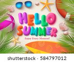 hello summer colorful vector... | Shutterstock .eps vector #584797012