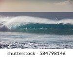 blue ocean shorebreak wave for... | Shutterstock . vector #584798146