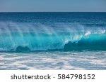 blue ocean shorebreak wave for... | Shutterstock . vector #584798152
