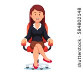 business woman confidently... | Shutterstock .eps vector #584802148