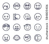 emotion icons set. set of 16... | Shutterstock .eps vector #584805406