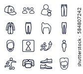 men icons set. set of 16 men... | Shutterstock .eps vector #584807242