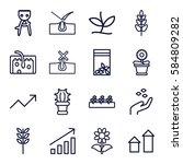 Grow Icons Set. Set Of 16 Grow...