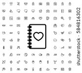 notebook with heart icon... | Shutterstock .eps vector #584816302