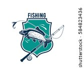 fishing icon or vector isolated ... | Shutterstock .eps vector #584823436