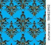antique baroque vector seamless ... | Shutterstock .eps vector #584823952