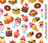 pastry cakes and bakery... | Shutterstock .eps vector #584824048