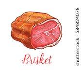 brisket vector sketch icon of... | Shutterstock .eps vector #584824078