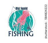 squid fishing icon or vector... | Shutterstock .eps vector #584824222