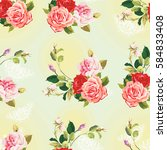seamless floral pattern three... | Shutterstock .eps vector #584833408