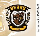 colorful logo  emblem  growling ... | Shutterstock .eps vector #584852422