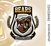 colorful logo  emblem  growling ... | Shutterstock .eps vector #584852452