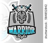 colorful logo  emblem  skull... | Shutterstock .eps vector #584852842