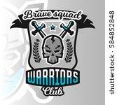 colorful logo  emblem  skull... | Shutterstock .eps vector #584852848