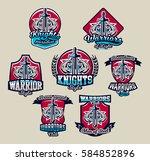 set of colorful emblems  logos  ... | Shutterstock .eps vector #584852896