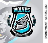 colorful logo  emblem  a wolf... | Shutterstock .eps vector #584853682