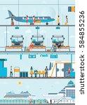 set of public passenger... | Shutterstock .eps vector #584855236