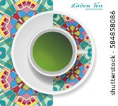 cup of green tea with doodle... | Shutterstock .eps vector #584858086