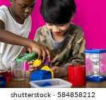 students studying scientific...   Shutterstock . vector #584858212