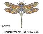 doodles sketch dragonfly....   Shutterstock .eps vector #584867956