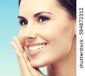 close up portrait of beautiful... | Shutterstock . vector #584872312