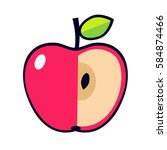 vector icon of red apple | Shutterstock .eps vector #584874466