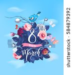 happy 8 march. hand lettering... | Shutterstock .eps vector #584879392