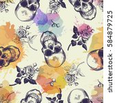 seamless pattern with skulls... | Shutterstock .eps vector #584879725