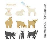 baby goat  various poses vector ... | Shutterstock .eps vector #584880862
