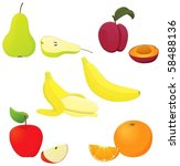 a set of colorful fruit. | Shutterstock .eps vector #58488136