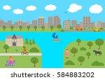 panorama. landscape. summer... | Shutterstock .eps vector #584883202