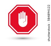 hand stop sign with shadow.... | Shutterstock .eps vector #584894122
