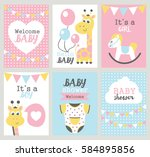 set of baby shower cards.... | Shutterstock .eps vector #584895856