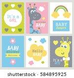 set of baby shower cards.... | Shutterstock .eps vector #584895925