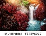 natural background waterfall....   Shutterstock . vector #584896012